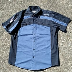 Harley Davidson Button Up Spellout Graphics